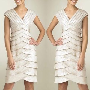 Cache champagne tiered shutter pleat evening dress
